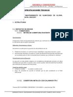 Espeficaciones Tecnicas - Chimbote- Deposito de Envasenuevo