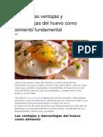 Ventajas y Desventajas Del Huevo Como Alimento Fundamental