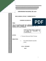 Falta de Regulación Del Enriquecimiento Sin Causa Como Fuente de Obligaciones en El Código Civil Ecuatoriano - Tesis