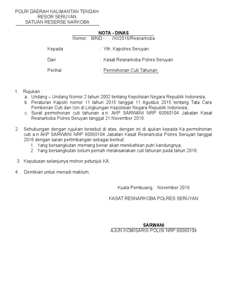34++ Contoh surat nota dinas polri terbaru terbaru