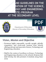Policies on the Implementation of Science Technology and Engineering (Ste) Program for Sy 2014-2015