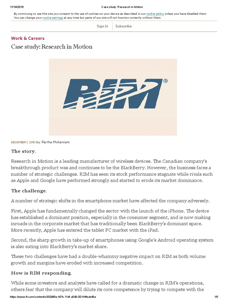 research in motion (rim) analysis essay Research in motion limited (rim)  case study research in motion limited marketing essay  retrieved from  .