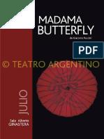 Programa de Mano Madama butterfly Argentina