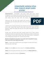 Cara Memperbaiki Selang Infus Macet Atau Masuk Angin Pada Printer