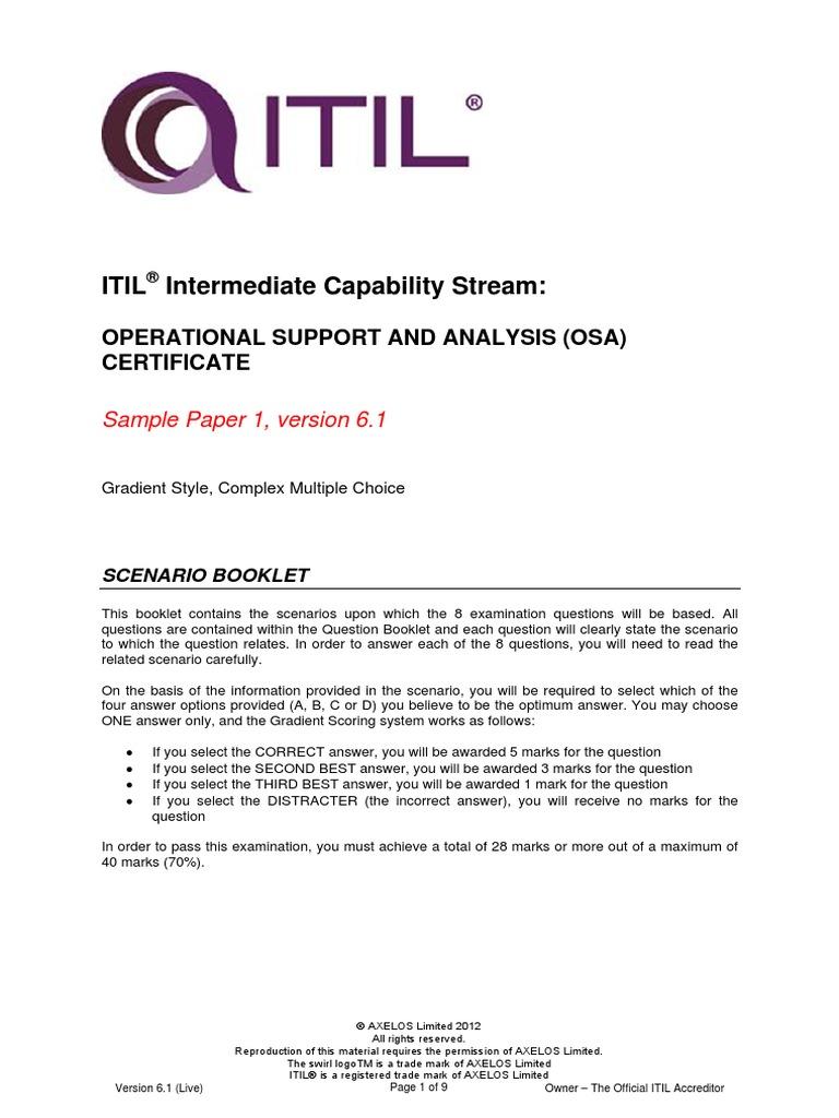 Itil Intermediate Capability Osasample1 Scenario Booklet V61 Itil