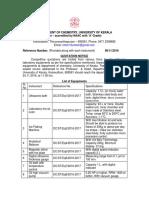 University of Kerala Tender for Lab Equipments Due 24112016