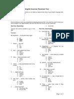 English Grammar Placement Test
