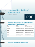 Constructing Table of Specification