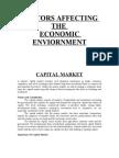 Facors Affecting Economic Enviornment