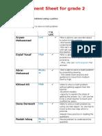 assessment sheet  math lesson- math problem