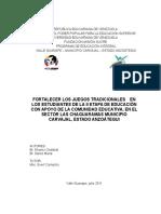 FORTALECER LOS JUEGOS TRADICIONALES EN LOS ESTUDIANTES DE LA II ETAPA DE EDUCACIÓN CON APOYO DE LA COMUNIDAD EDUCATIVA, EN EL SECTOR LAS CHAGUARAMAS MUNICIPIO CARVAJAL, ESTADO ANZOÁTEGUI