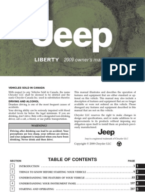 2009 Jeep Liberty Owners Manual pdf | Seat Belt | Airbag