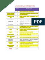 Rúbrica Para La Evaluación de Word