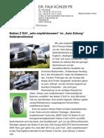 """Nokian Z SUV """"sehr empfehlenswert"""" im """"Auto Zeitung"""" Geländereifentest"""