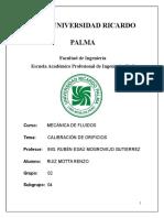 Informe Lab 2015 Calibración de Orificios