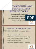 Acceptance Criteria of Weld Defects as Per Different Codes_The Engineers Edge Institute of NDT CBE