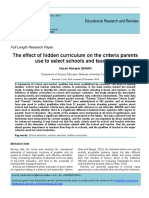 The Effect of Hidden Curriculum on the Criteria Parents Use to Select Schools and Teachers