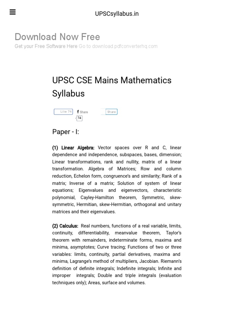 UPSC CSE Mains Mathematics Syllabus - 2017-2018 _