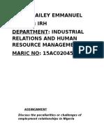 i.r.h Assignment