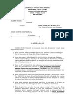 Plaintiff James Perez Sum of Money