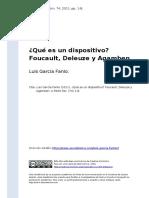 Luis Garcia Fanlo (2011). ¿Que Es Un Dispositivoo Foucault, Deleuze y Agamben