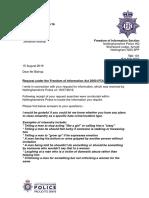 Nottinghamshire Police FOIR Letter
