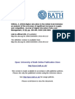 Higher Education in the United Arab Emirates - An Analysis of the Outcomes of Significant Increases in Supply and Competition