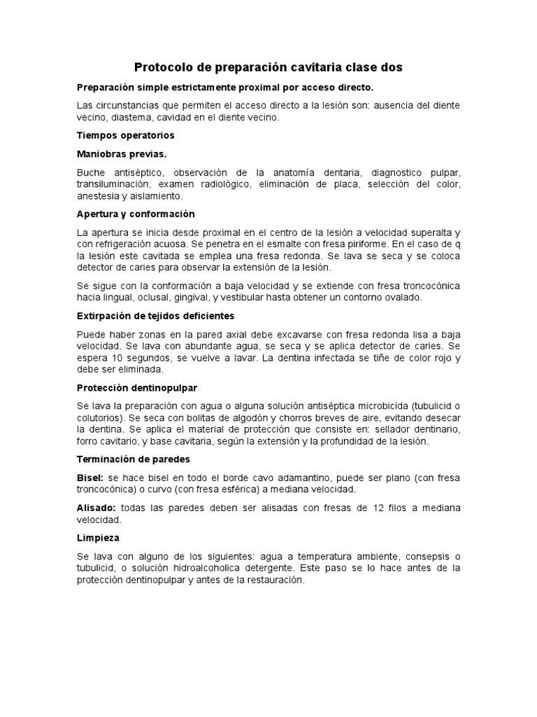 Protocolo de Preparación Cavitaria Clase Dos