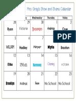 December 2016 Show and Share Calendar