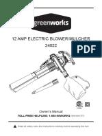 Greenworks 12 Amp Electric Blower Mulcher Owner's Manual