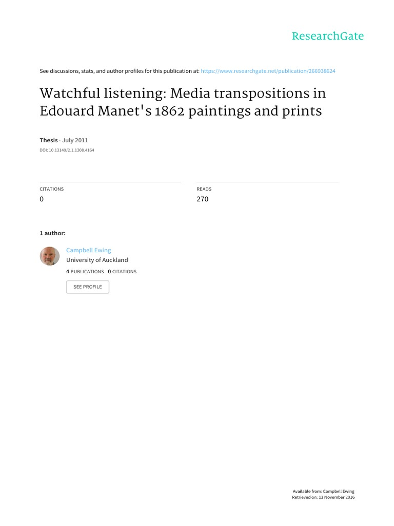 Watchful Listening- Media Transpositions in Edouard Manet s 1862 Paintings  and Prints   Charles Baudelaire   Édouard Manet d47a03bef021