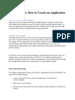 Application Override   Port (Computer Networking)   Firewall