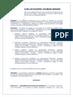 Constitución de Los Picantes Sociedad Anónima Real