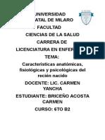 Características Anatómicas, Fisiológicas y Psicológicas Del Recién Nacido