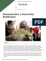 Demonetisation_ a Noteworthy Modification