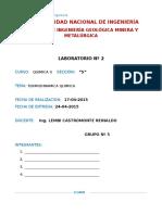 Laboratorio 2 QII Calorimetria II