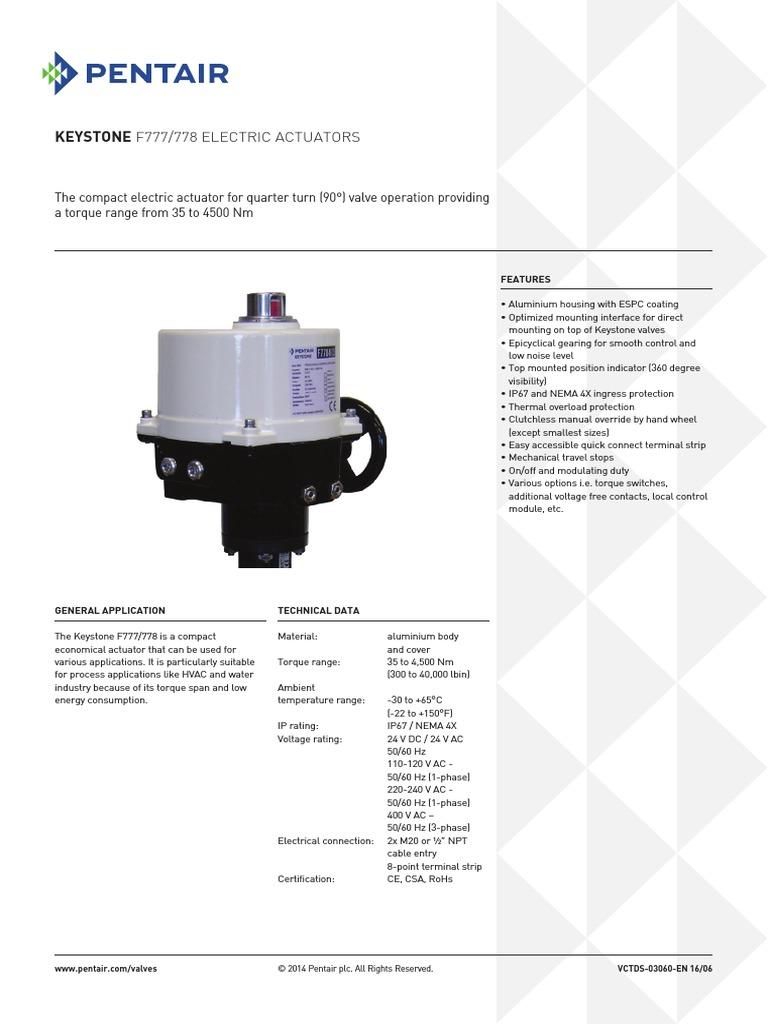 Keystone F777/778 Electric Actuators