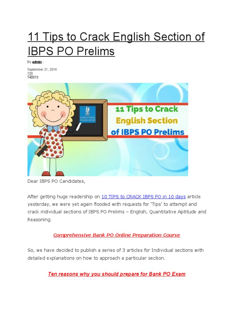 11 tips to crack english section of ibps po prelims docx test assessment reading comprehension