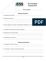 Business Plan Fill in Form