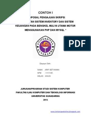 2 Contoh Proposal Pengajuan Judul Skripsi