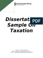 Taxation Dissertation Sample