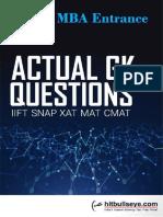 Actual GK Question Iift,Snap,Xat,Mat,Cmat Final