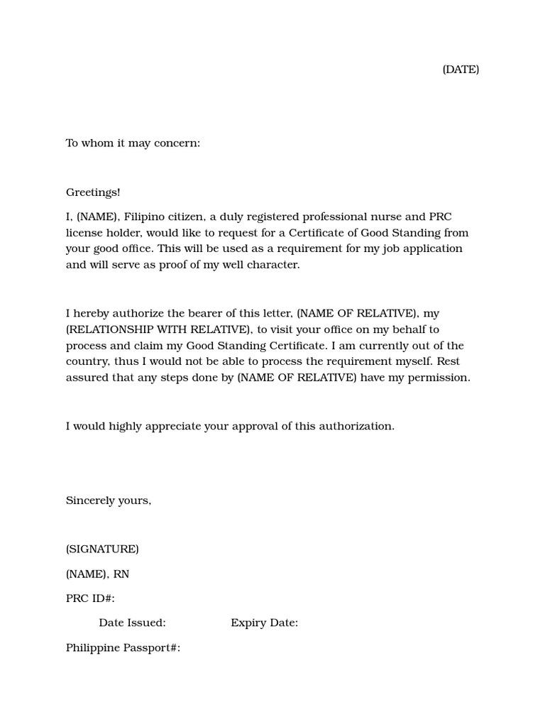 Authorization Letter Process Documents Sample Legal Document