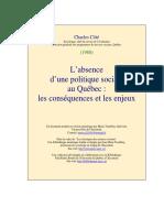 L'absence d'une politique sociale au Québec