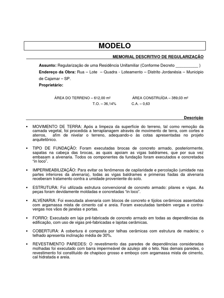 Microsoft Word Modelo Memorial Regulariza347343o