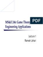 MS&E 246 Game Theory With Engineering Applications