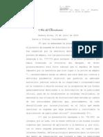 La Corte aprobó el esquema de distribución de la pauta oficial presentado por Neuquén
