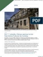 Lei Patrimônio Cultural Curitiba