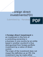 Foreign Direct Investments(FDI)