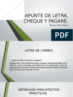 Apunte de Letra, Cheque y Pagaré